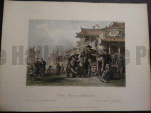 DSC02397 Canton Barge-men, fighting quails.. Thomas Allom 1855 hand colored engraving $150.