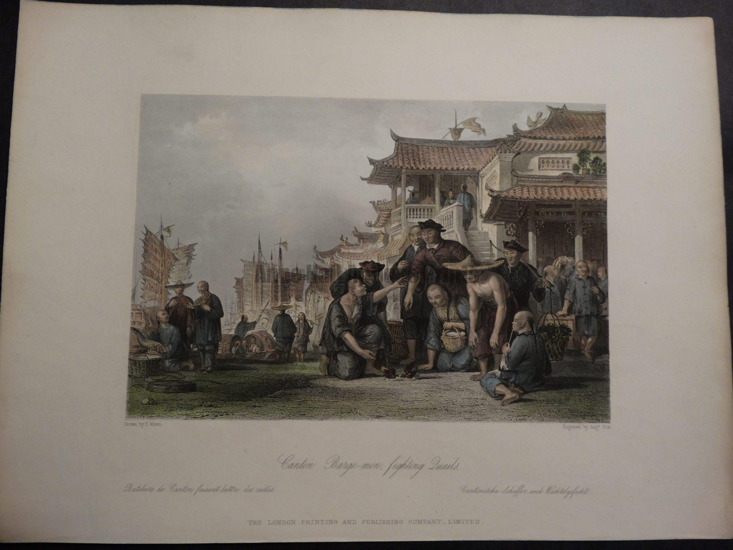 DSC02397 Canton Barge-men, fighting quails.. Thomas Allom 1855 hand colored engraving $150.