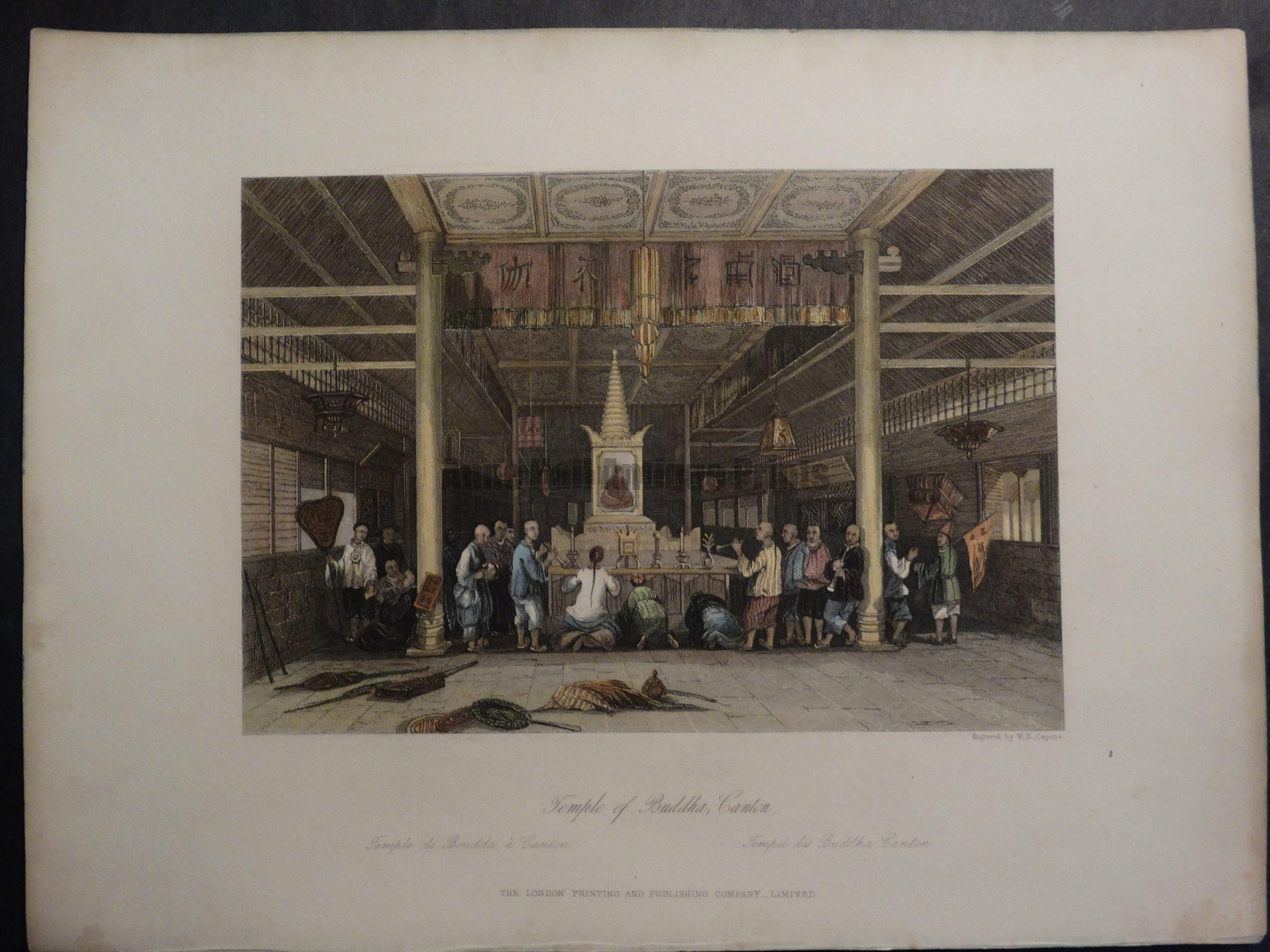 DSC02403 Temple of Buddah, Canton by Allom. 1855 Hand colored engraving. $150.