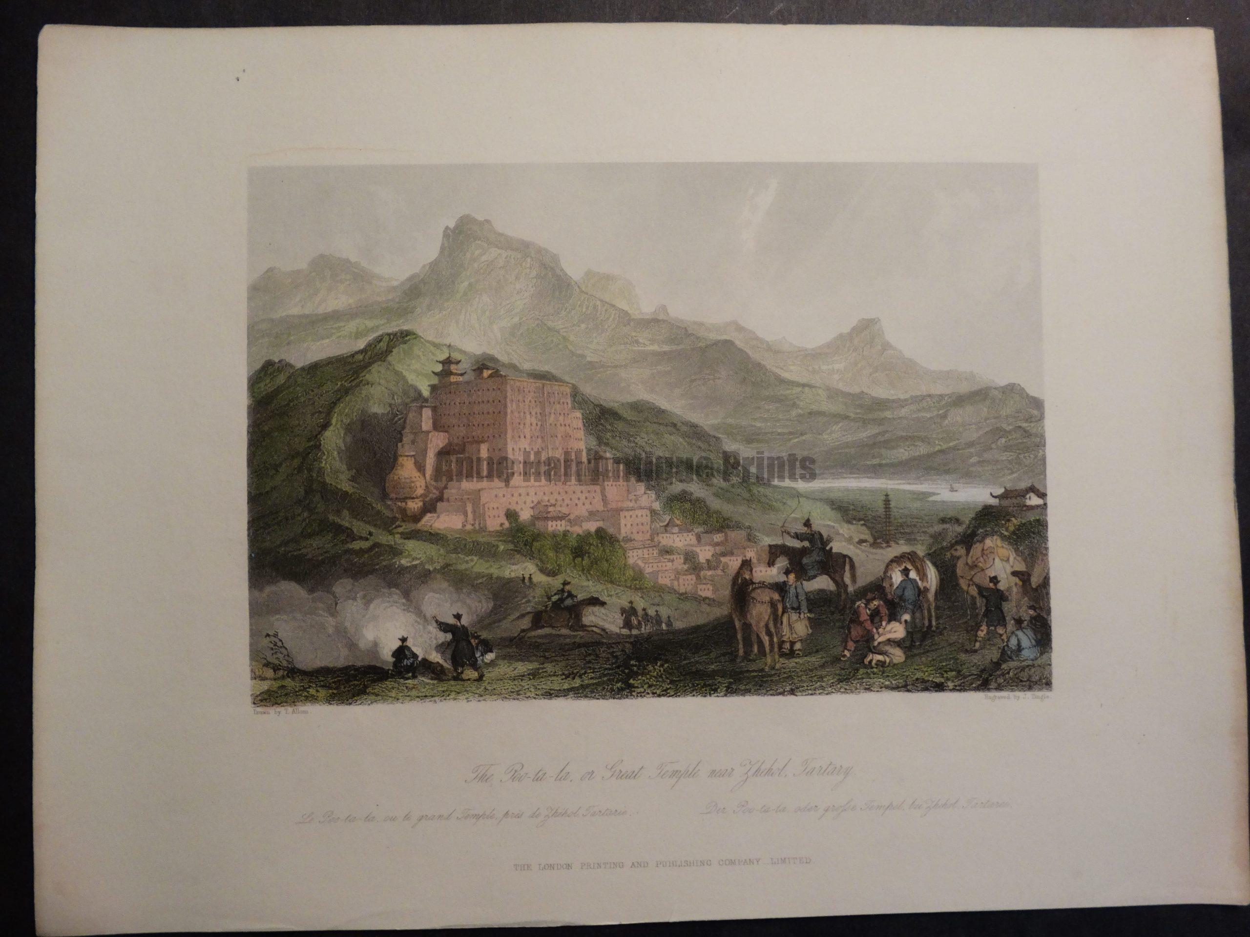 DSC02406 Great Temple near Zhehol, Tartary by Allom 1855 $150.