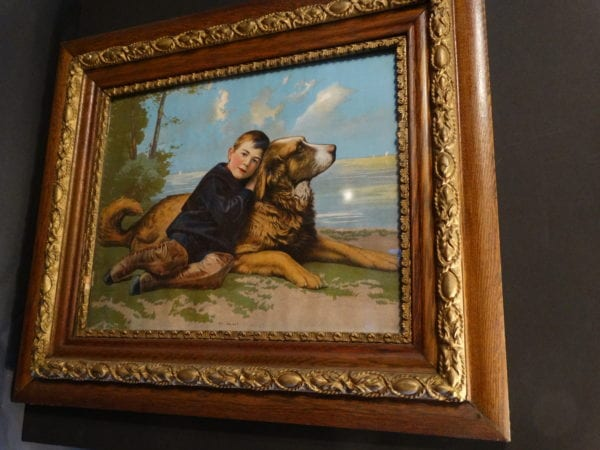 Dan and I, Framed Antique  Dog print in stunning colors.  German Chromolithograph c.1890.