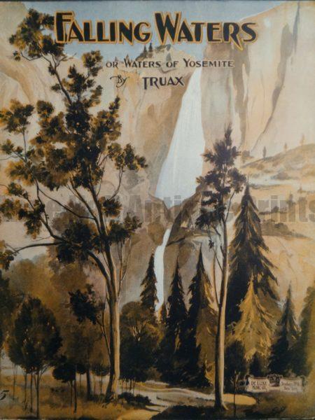 Beautiful old lithograph of Yosemite Falls. Vintage valley scene from the 1930's.
