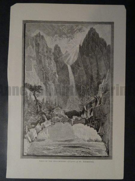 A vintage antique wood engraving of Yellowstone Falls.