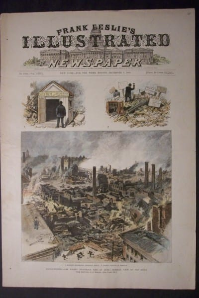 The Recent Disastrous Fire at Lynn-General View of the Ruins, December 7, 1889. $60.