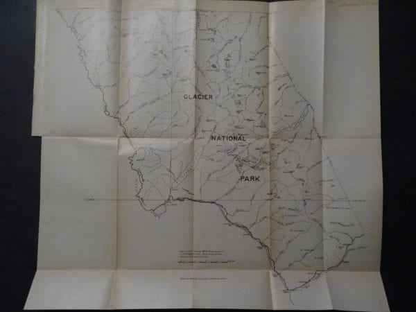 Antique folding map of Glacier National Park from 1910.