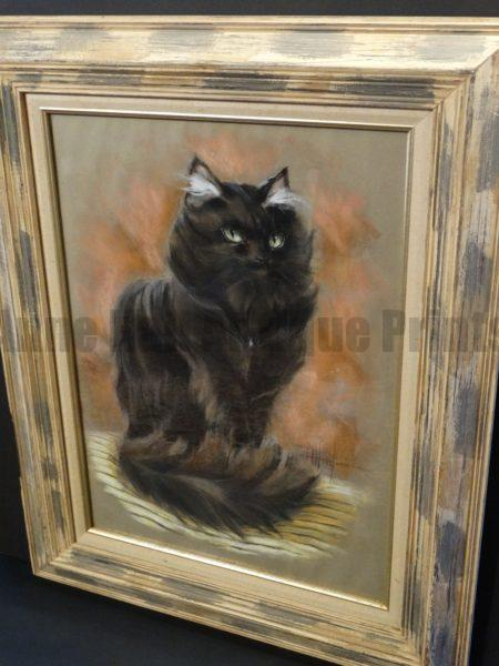 """Greater Eastern Moon Cat, Cat Pastel by LA Hood. Vintage, frame is right out of the '60s. Framed. 26"""" x 32"""" Sold with Moon Over Waikiki Cat Pastel,  $1650. for the pair."""