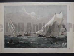 """The Race Between Pilot-Boat """"Hesper"""" and Fishing Schooner """"Fredonia,"""" Off Boston Harbor, October 5, 1889."""