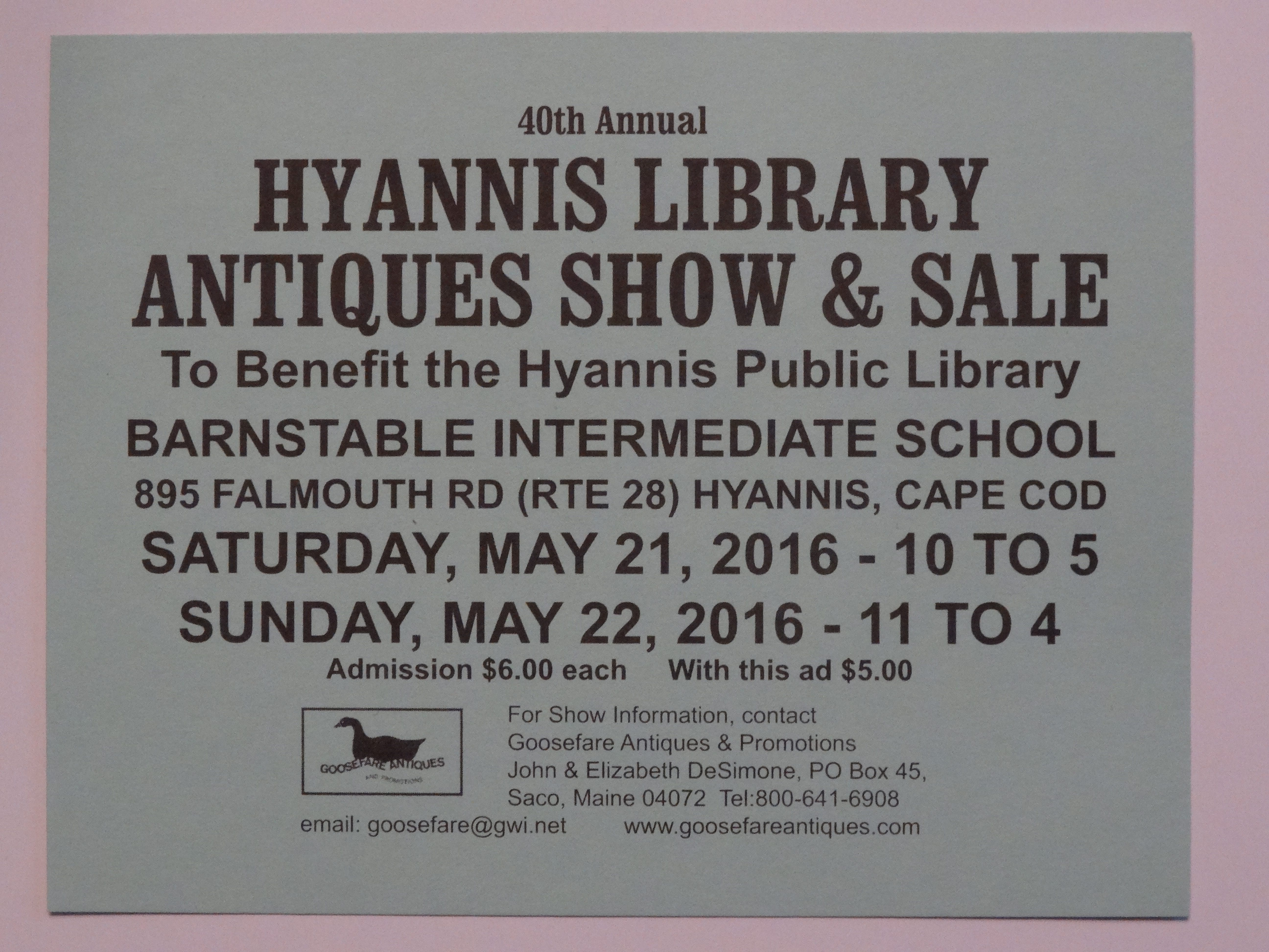 Cape Cod Antiques Show May 21 & 22, 2016