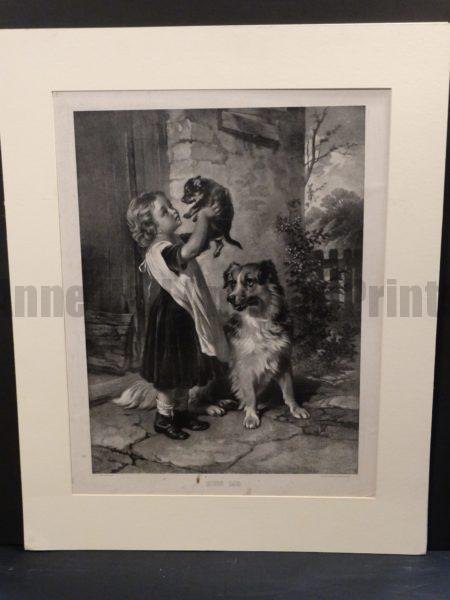 Kiss Me, Matted, Charming Antique Lithograph Dogs.  Photolithograph,  painted by Geo A Holmes. Published by the Crowell and Kirkpatrick Co. NY and Chicago.