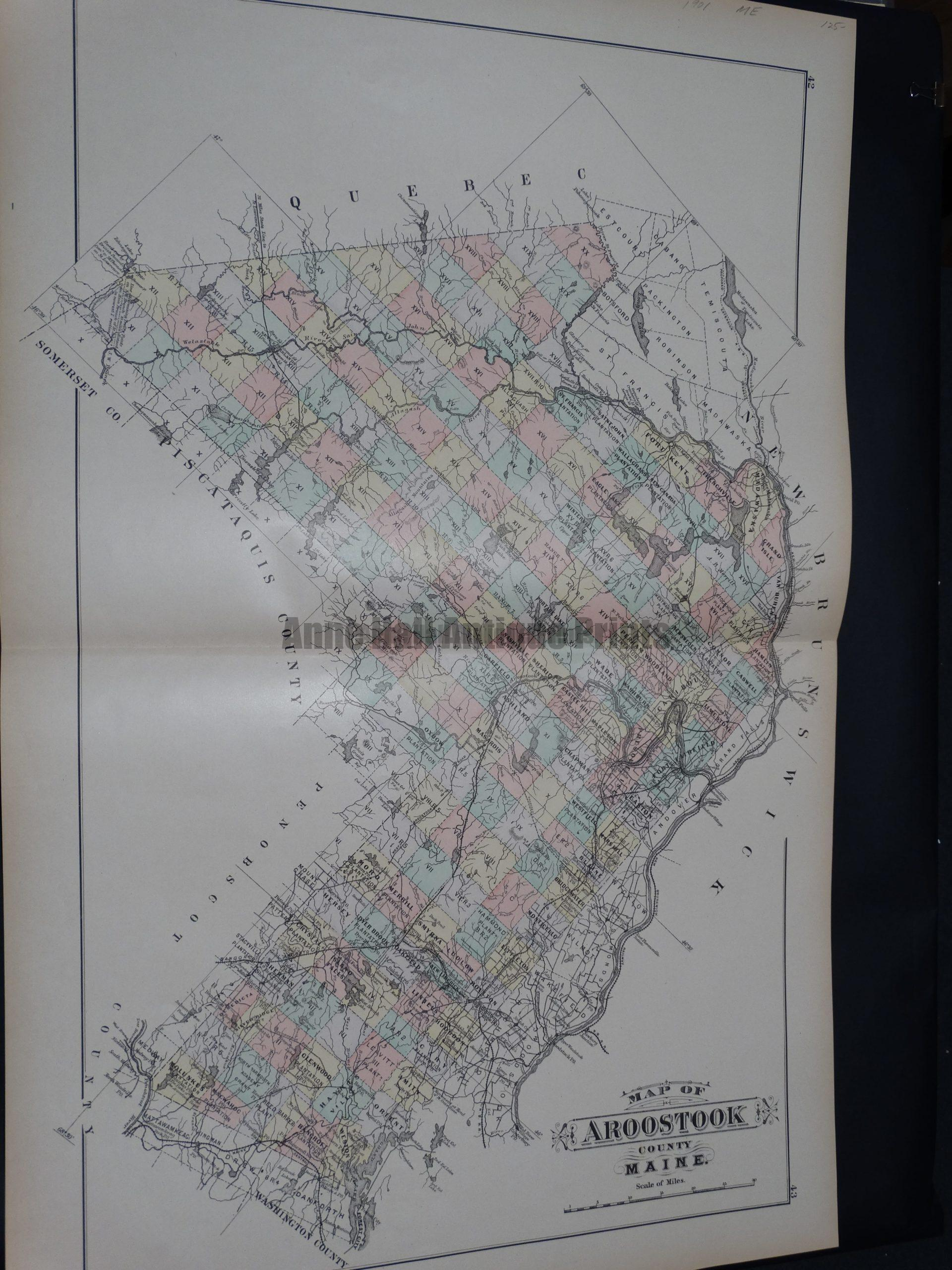 Map of Aroostook County Maine.