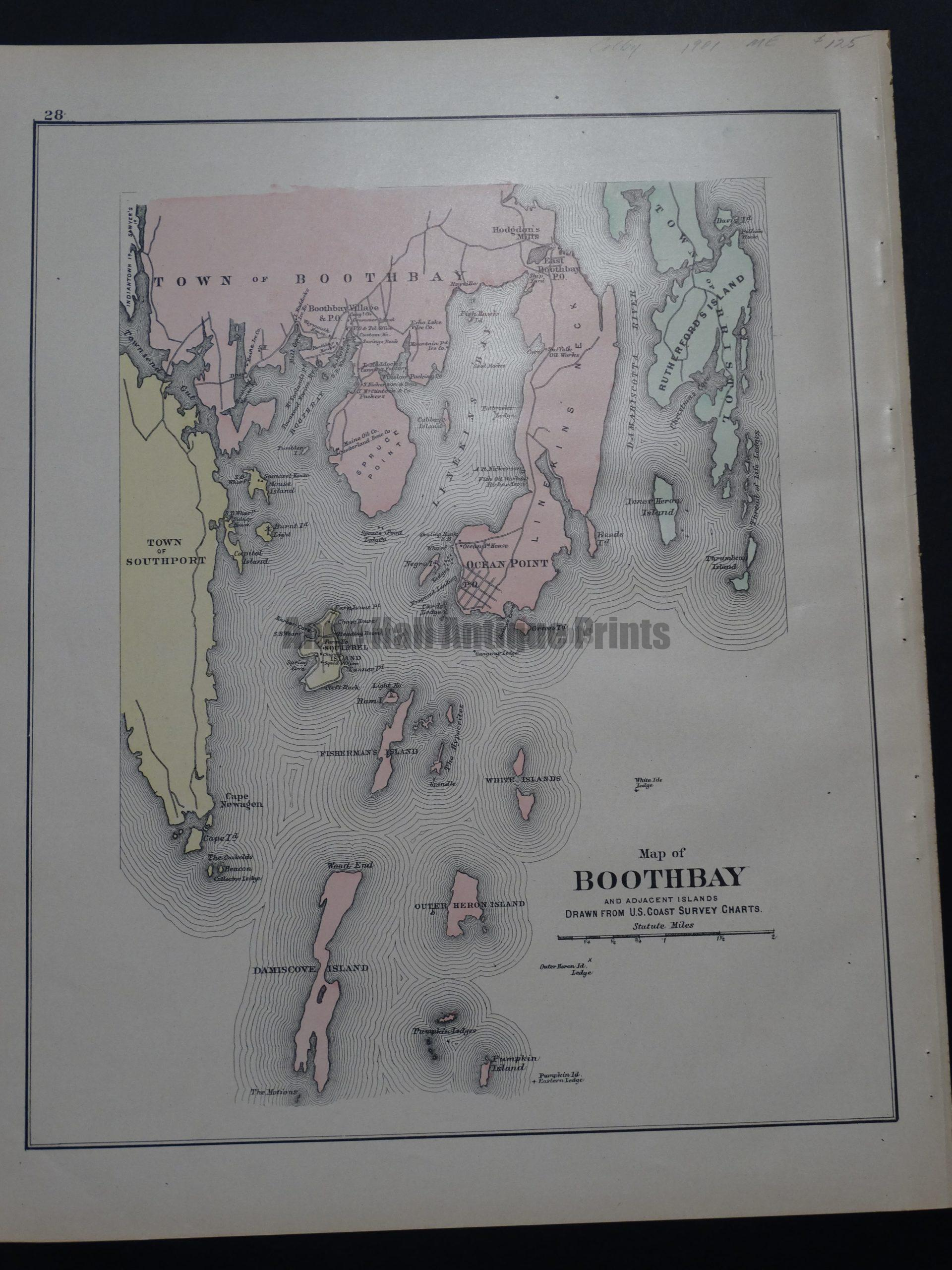 Map of Boothbay and Adjacent Islands