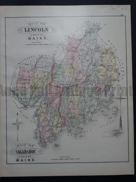 Map of Lincoln County and Sagadahoc County Maine