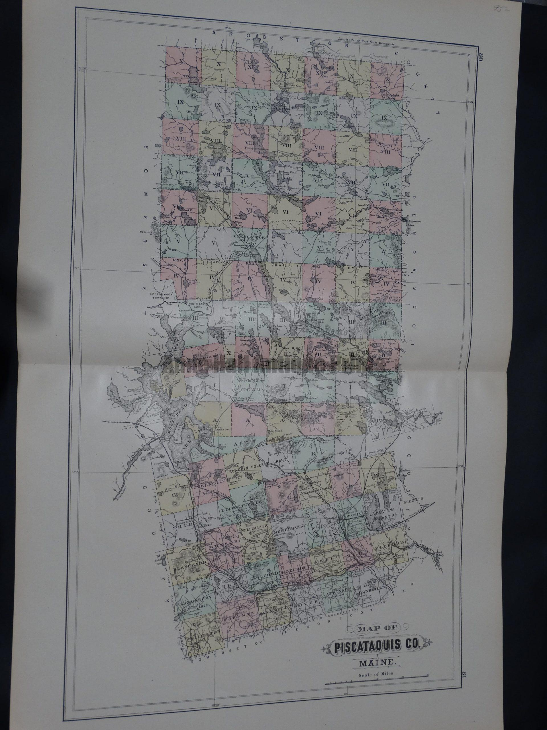 Map of Piscataquis Co Maine