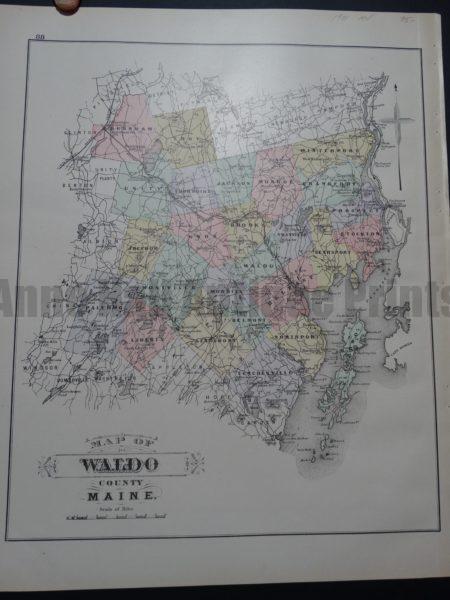 Map of Waldo County Maine, 1901. $95.