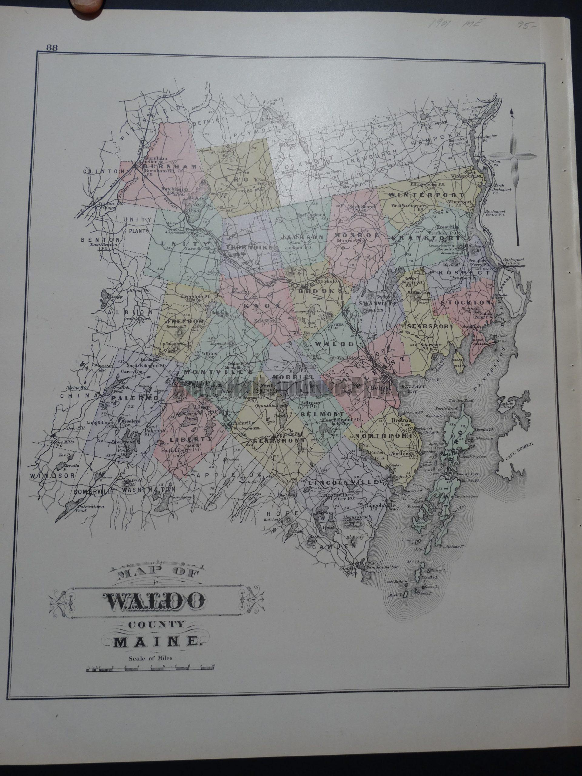 Map of Waldo County Maine, 1901. $95.