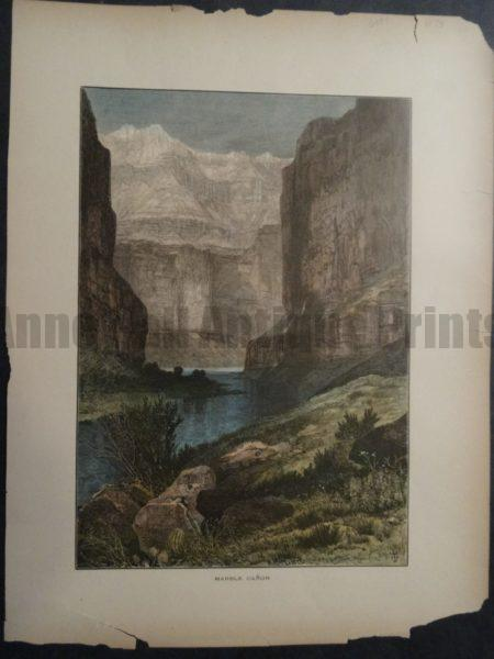Marble Canyon Colorado River canyon in northern Arizona. Published 1872 for Picturesque America.