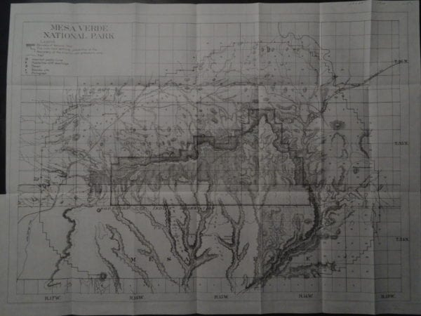 Beautiful old map of Mesa VerdeNational Park from 1910.