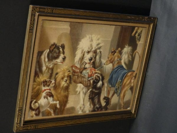 """Multitude of Dogs, Antique Dog Lithograph.  Chromolithograph of multiple dog breeds including Poodle, Terrier, Greyhound, and more, c.1890 18"""" x 13.5""""  $325."""