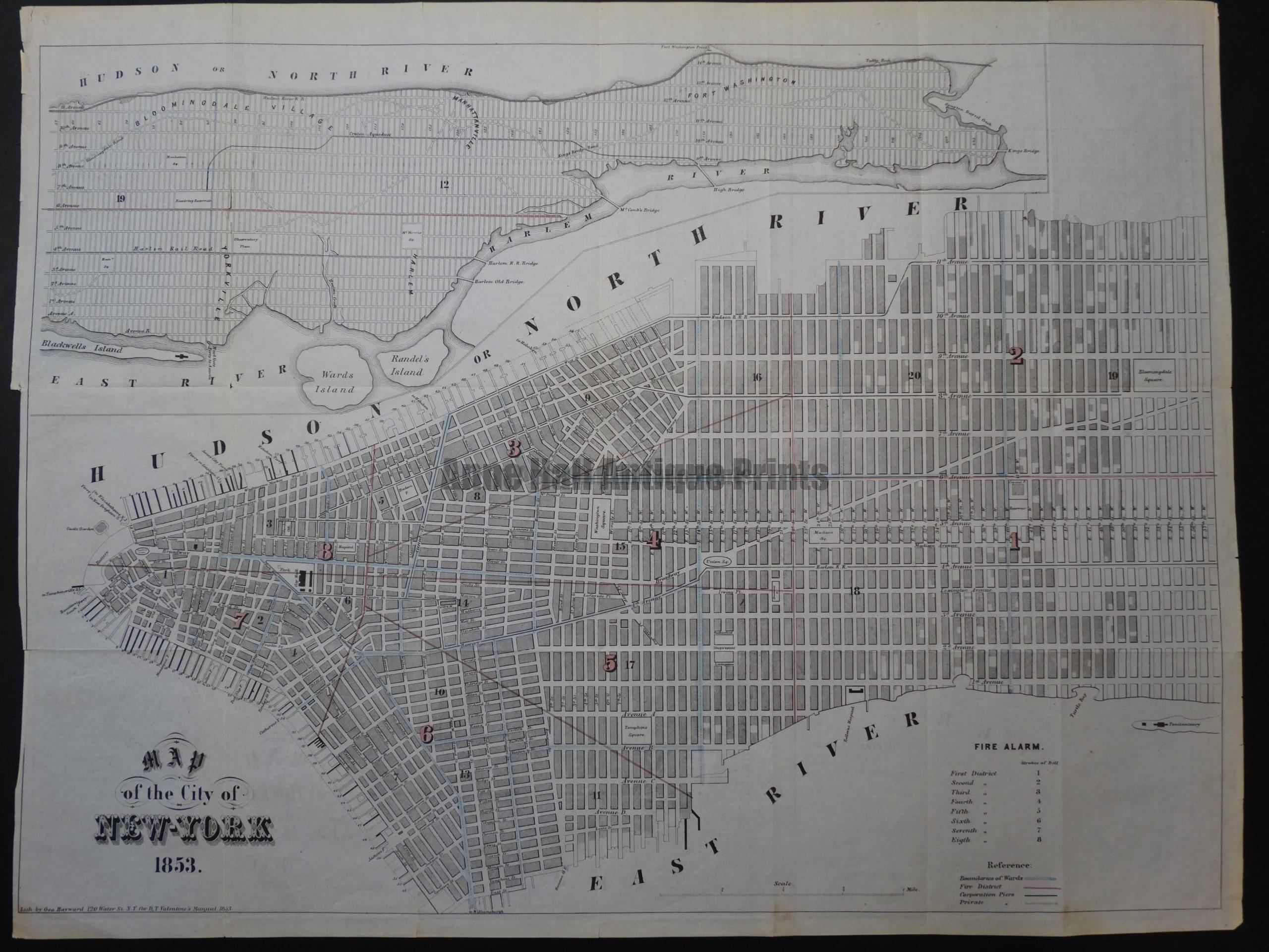 Striking antique map of lower Manhattan, published 1853.