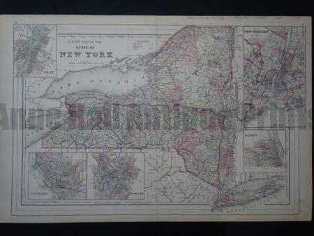 NY Map 3 Augustus Mitchell County Map of New York. $150. Click Here to Buy Now.