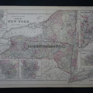 Attractive antique map of the state of New York with city insets from the mid 19th century.