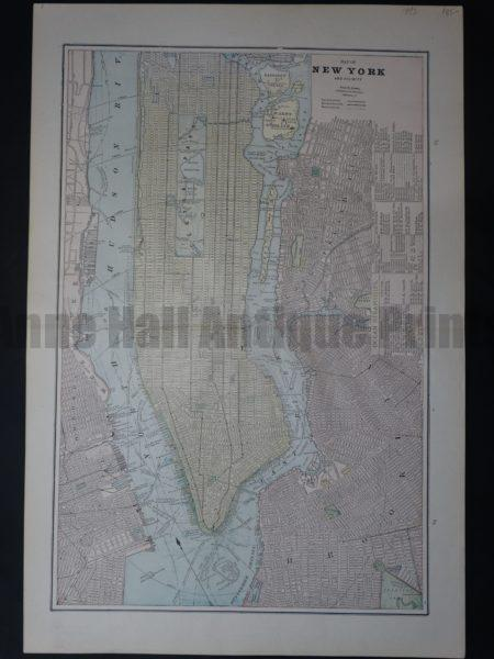 Attractive old map of Manhattan in soft colors, perfect for a NYC apartment.