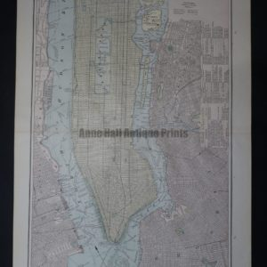 NY Map 4 George Cram New York City is an attractive old map of Manhattan in soft colors, perfect for a NYC apartment.