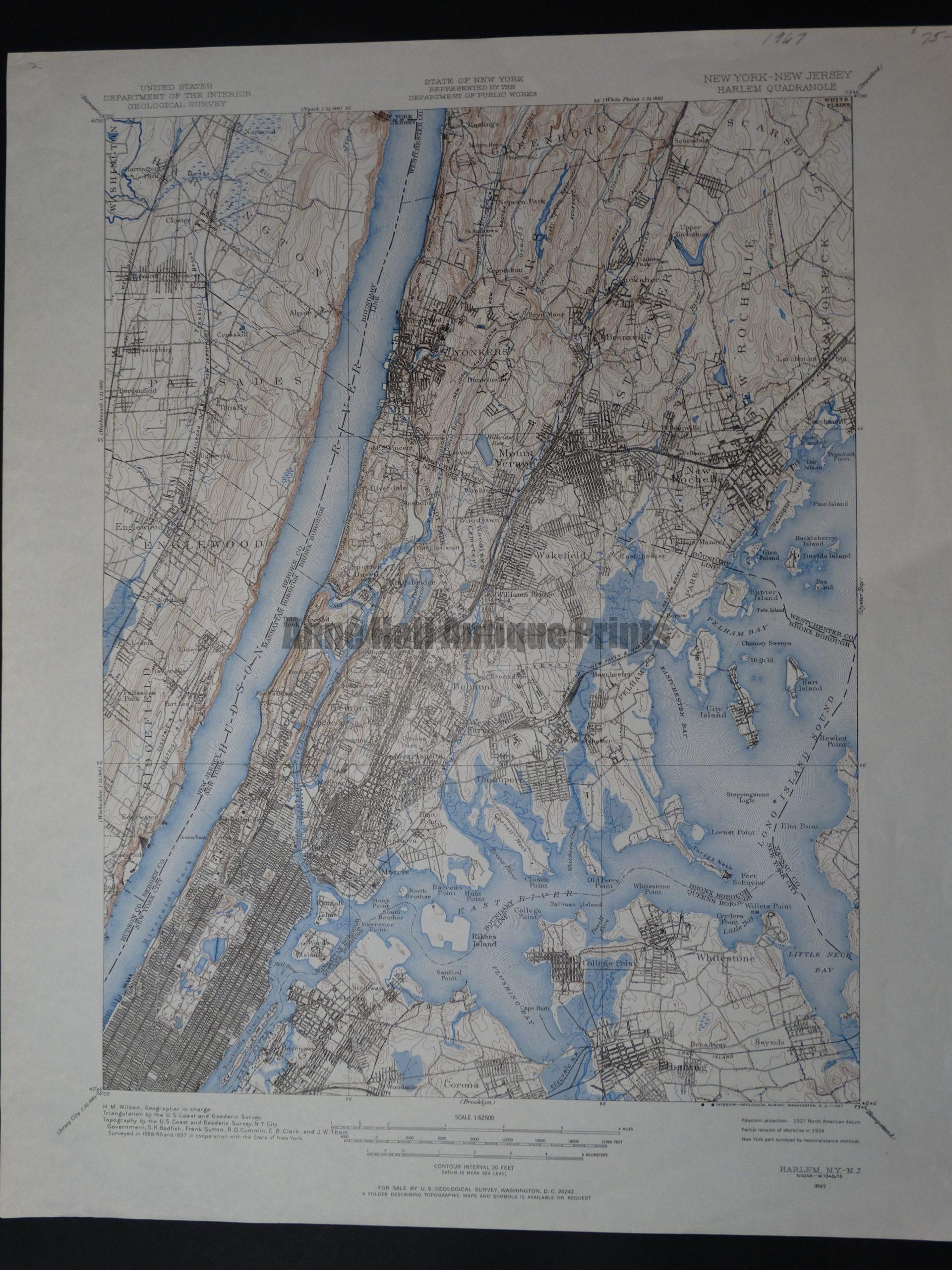 Wonderful vintage 1967 topo map of Manhattan from the
