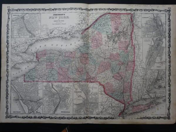 Beautiful 19th century watercolor map of New York.