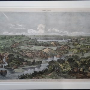 Beautiful old watercolor engraving of Central Park in the 1800's