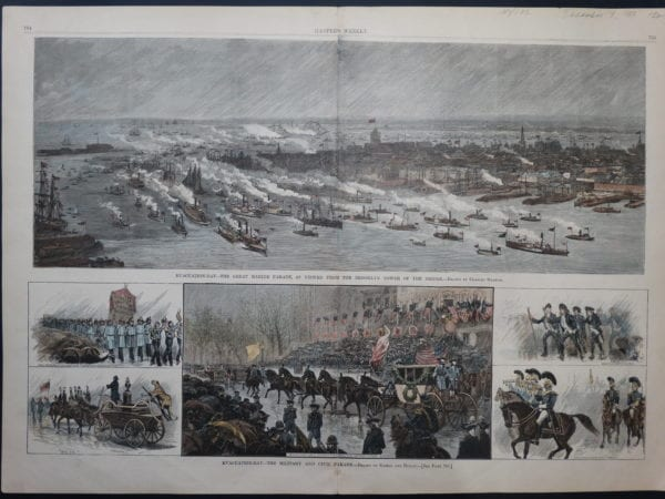 19th century watercolor engraving of boats parading on the Hudson River and New York Bay, Lower Manhattan.