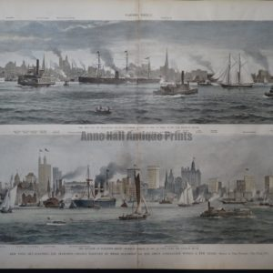 19th century scene of tall buildings in New York seen from busy New York Harbor.