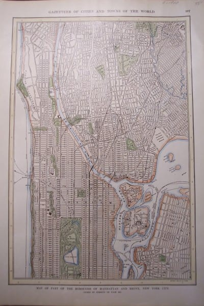 NYC, Map of Manhattan, Bronx c.1900 $75.