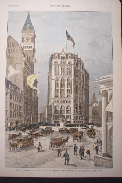 NYC, New York Times Building, October 27,1888 $100.