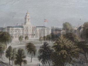 Find 19th century antique prints,  lithographs engravings and old maps of NYC stock exchange, Brooklyn Bridge and more.