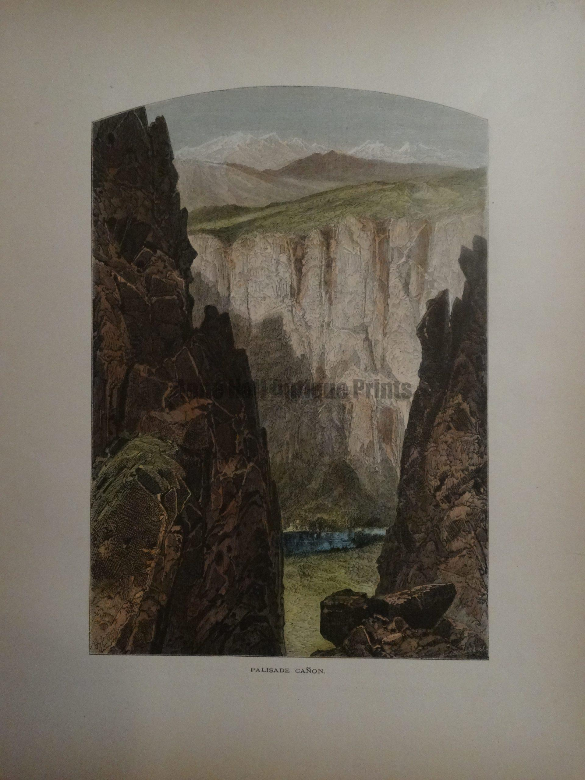 Watercolor engraving from 1873 of Palisade Canyon located in the Santa Catalinas of Arizona. Technical hiking.