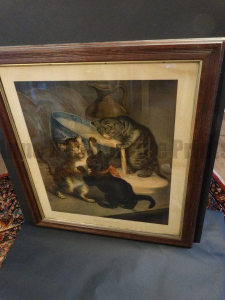 """Peace at Home Cats, Antique Cat Chromolithograph entitled """"Where Brawls Disturb the Street, There Should be Peace at Home."""" Chromolithograph Printed by L. Van Leer & Co. in Holland."""