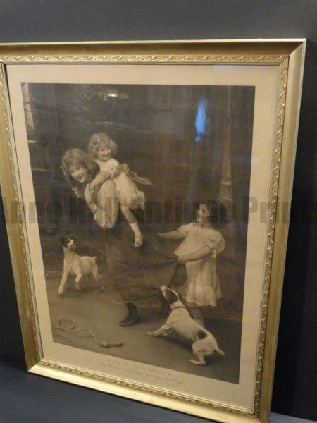Pick-A-Back, Framed Antique Terriers Dog Engraving of Jack Russell Terriers by Arthur J. Elsley, 1904. From the Illustrated London News.