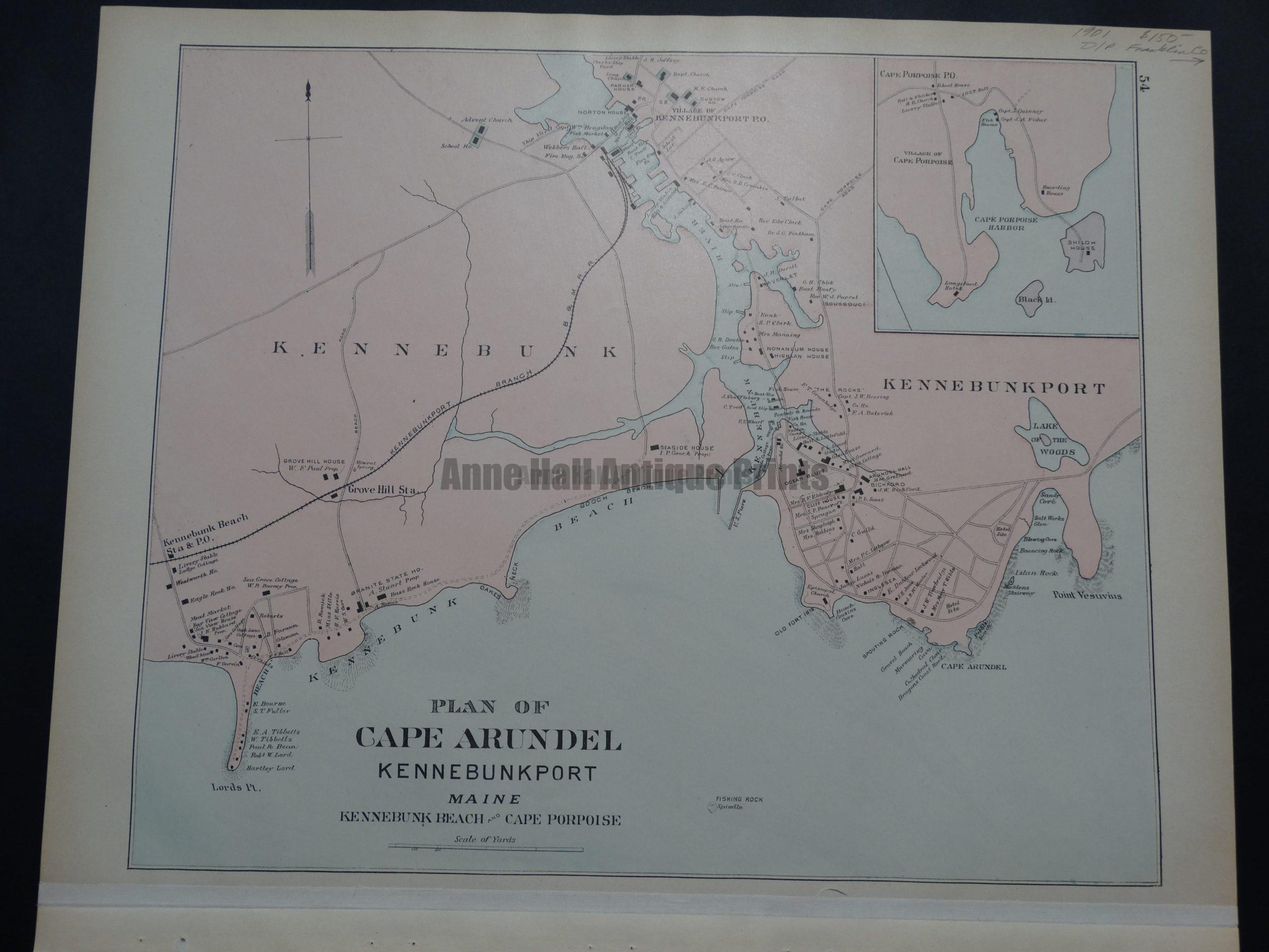 Plan of Cape Arundel Kennebunkport Maine, Double Page with Franklin Co. $150.