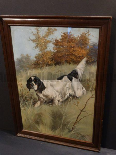 """Plumb English Setter Chromolithograph by H. C. Plumb. Framed. Intense coloration.  23.5"""" x 18.5"""""""