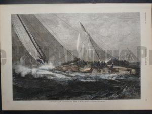 Racing Sloop Yachts Shortening Before A Squall, September 3, 1887. $80.