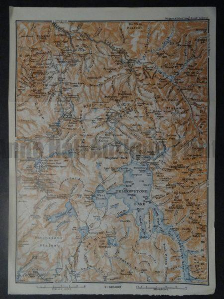 highly detailed miniature map of Yellowstone in 1910.