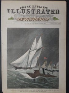 """The Steam Yacht """"Stilletto,"""" With a Record of Twenty-Nine Miles in One Hour and Seventeen Minutes, June 20, 1885. $60.The Steam Yacht """"Stiletto,"""" With a Record of Twenty-Nine Miles in One Hour and Seventeen Minutes, June 20, 1885. $60."""