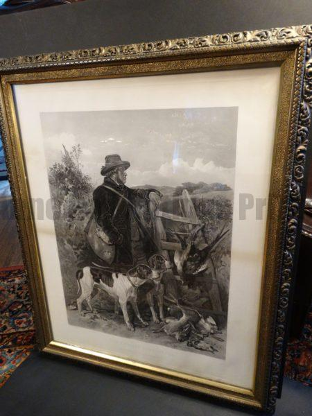 """The English Game-Keeper.  Steel plate engraving, painted by Richard Ansdellara, Engraved by F. Stackpoole. Framed, 30.5"""" x 37"""""""