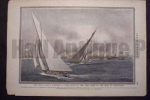 The great Yacht Contest - A Close Race to the First Mark in Windward, 1901. $90.