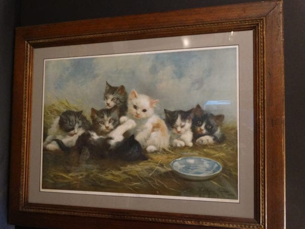 The Kittens Framed, Antique Cat Chromolithograph painted by Marie Cuise Newcomb, printed by Krapp Company, 1892.