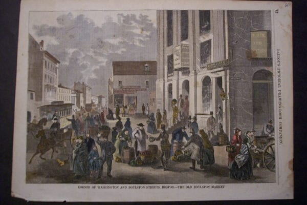 Corner of Washington and Boylston Streets, Boston.-The Old Boylston Market, 1857. $65.