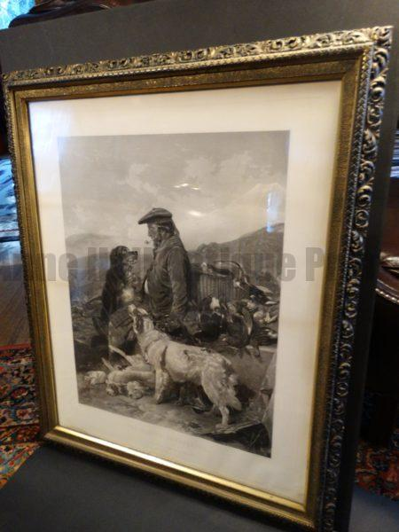 """The Scotch Game-Keeper, Framed Engraving, Setter Dogs.  Steel plate engraving, painted by Richard Ansdellara, Engraved by F. Stackpoole. Framed, 30.5"""" x 37"""""""