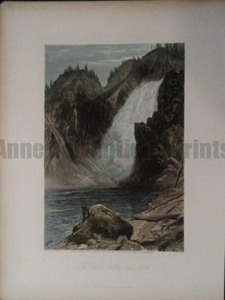 Beautiful 19th century watercolor engraving of the Upper Yellowstone Falls in the National Park.