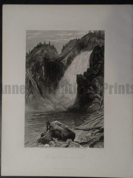 19th century Picturesque America wood engraving of Yellowstone National Park.